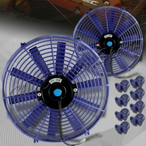 2 X 14 Blue Electric Slim Push Pull Engine Bay Cooling Radiator Fan Universal 1
