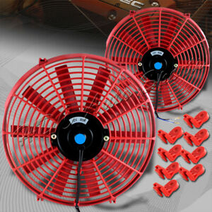2 X 14 Red Electric Slim Push Pull Engine Bay Cooling Radiator Fan Universal 1