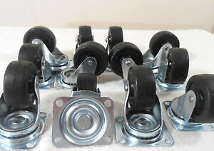 Wheel Caster Lot Of 24 Pc 2 Inch Premium Swivel Rubber Two Row Ball Bearing