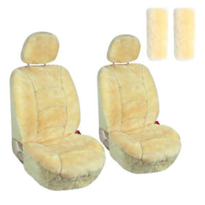 Sheepskin Two Low Back Seat Covers With Shoulder Pads Fit Universal Champagne