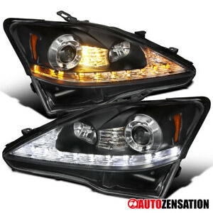 For 2006 2009 Lexus Is250 Is350 Smd Led Signal Black Projector Headlights