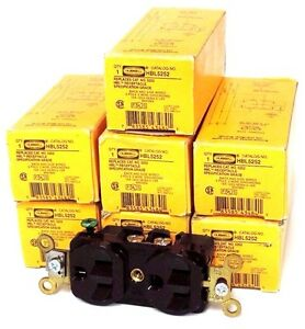 Lot Of 7 Nib Hubbell Hbl5252 Outlet Receptacles 15a 125v