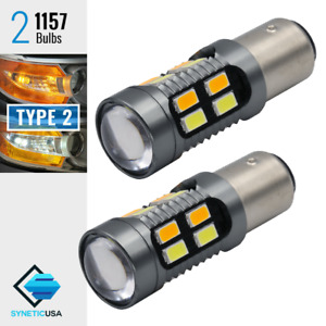 2x 1157 Dual Color Type 2 Switchback White Amber 20 Led Turn Signal Light Bulbs