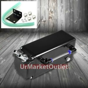 Black Square Style Universal Aluminum Oil Fuel Catch Tank Can Reservoir Turbo