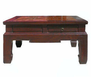 Chinese Square Bamboo Top Four Drawers Access Coffee Table Wk2629
