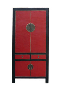 Chinese Red Black Silk Lacquer Tall Armorie Wardrobe Cabinet Cs700