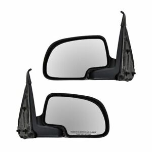 Black Manual Mirrors Pair Set For Chevy Yukon Silverado Sierra Pickup Truck Xl