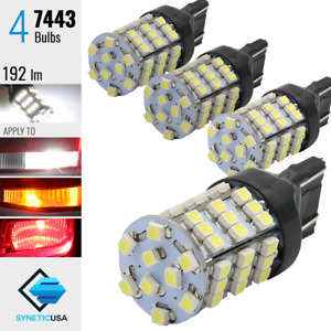 4x 7443 7440al Reverse Backup Lights Xenon 6000k White 54 Smd 1206 Chip Led Bulb