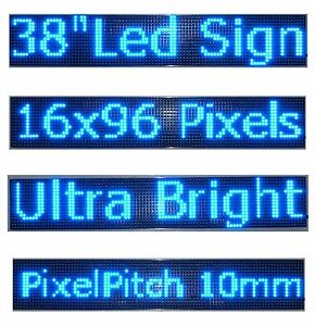 38 x 6 5 Led Sign Programmable Scrolling Window Message Display Blue Color P10