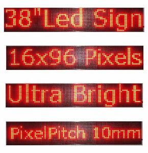38 x 6 5 Led Sign Programmable Scrolling Window Message Display Red Color P10
