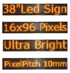 38 x 6 5 Led Sign Programmable Scrolling Window Message Display Yellow P10