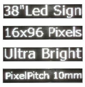 38 x 6 5 Led Sign Programmable Scrolling Window Message Display White Color P10