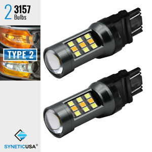 2x 3157 Dual Color Switchback Led 3535 Chip Front Turn Signal Lights Bulbs