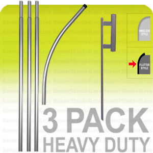 3 Pack Swooper Flag 15 Pole Spike Ground Stake Mount Feather Flutter Kit