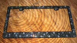 Gray Black Diamond Crystal Bling License Plate Frame Made With Swarovski Element
