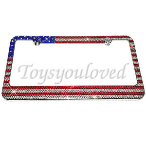 American Flag Crystal Bling License Plate Frame Made With Swarovski Elements