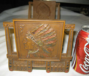 Antique C J O Judd Native American Indian Bookends Bookrack Cast Iron Rack Book