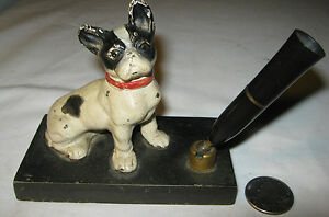 Antique Hubley Novelty Cast Iron French Bulldog Paperweight Desk Dog Pen Holder