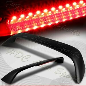 For 2006 2010 Honda Civic Coupe Black Rear Trunk Rear Spoiler Lip Wing Led Brake