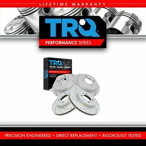 Trq Brake Rotor Performance Drilled Slotted Zinc Front Rear Kit For Honda