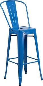 Blue 30 Seat Height Restaurant Metal Bar Height Stool