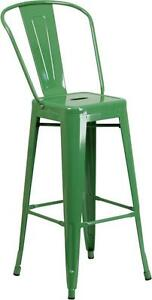 Green 30 Seat Height Restaurant Metal Bar Height Stool