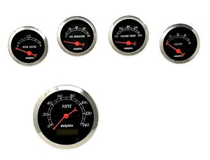 5 Gauge Programmable Hot Rod Street Rod Universal Set Black