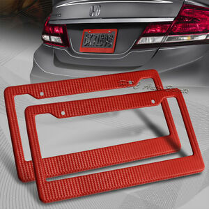 2 X Jdm Red Carbon Fiber Look License Plate Frame Cover Front Rear Universal 4