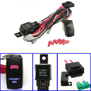 40a 300w Relay Fuse Wiring Harness Led Light Bar On Off Laser Rocker Switch