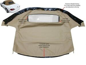 Mazda Miata Convertible Top With Heated Glass Window Attached Rain Rail Tan