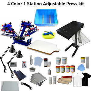 Screen Printing 4 Color Press Kit Adjustable Printer Flash Dryer Exposure tool