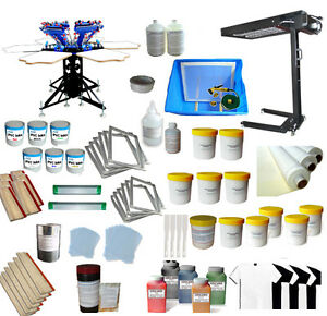 6 Color Silk Screen Printing Supplies Press Kit Micro registration Printer Dryer