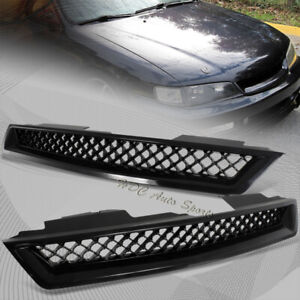 For 1994 1997 Honda Accord Abs Black Type R Front Hood Bumper Mesh Grille Grill