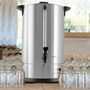 100 Cup Large Coffee Dispenser Urn Big Silver Commercial Brewer Maker Wedding 7