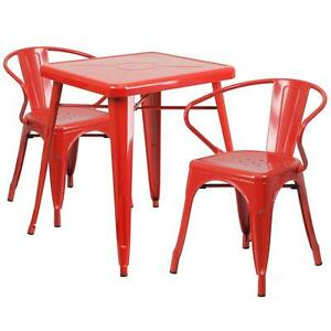Red Metal Restaurant Restaurant Table Set With 2 Arm Chairs