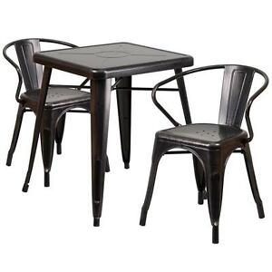 Black Antique gold Metal Restaurant Table Set With 2 Arm Chairs