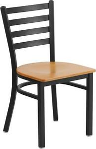 Hercules Series Black Ladder Back Metal Restaurant Chair Natural Wood Seat