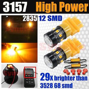 3157 3457 Hi Power 2835 Chip Led Amber Yellow Turn Signal Parking Bulbs Resistor