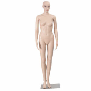 Goplus Female Mannequin Plastic Realistic Display Head Turns Dress Form W Base