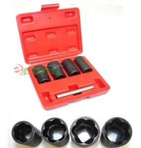 5pc Twist Socket Set 4 Damaged Worn Lug Nut And Lock Remover 17 19 21mm 22mm