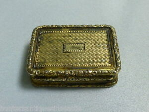 Antique 1825 William Edwards Sterling Silver Georgian Vinaigrette Gold Wash