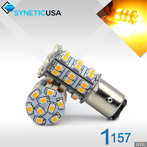 2x 1157 2396 Led Amber Yellow Turn Signal Parking 3528 45 Smd 195lm Light Bulbs