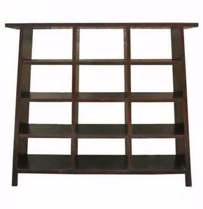 Huge Black Ladder Shape 12 Holes Display Cabinet Room Divider Bookcase W078