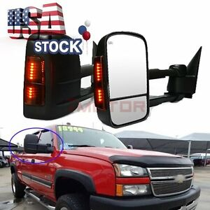 Black Power Heated Led Turn Signal Towing Side Mirrors For 04 07 Chevy Gmc 7m