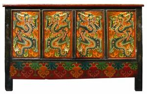 Chinese Tibetan Graphic Dragon Multi Color Side Cabinet Table Storage Mh308