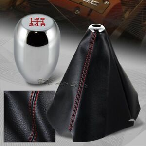 Red Stitch Leather Manual Shift Boot Chrome 5 speed Shifter Knob Universal