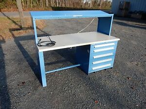 Lyon Industrial Work Bench W Top Mss Ii 5 Draw Cabinet 72 X 34