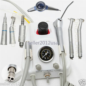 Dental Portable Air Turbine Unit High Low Speed Handpiece Kit Air Polisher