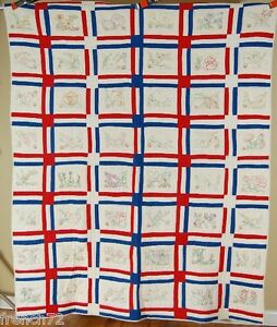Patriotic Vintage 30 S Ruby Mckim Hand Embroidered State Flower Antique Quilt