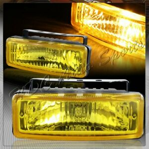 5 X 1 75 Rectangle Chrome Housing Yellow Lens Fog Lights Lamps Universal